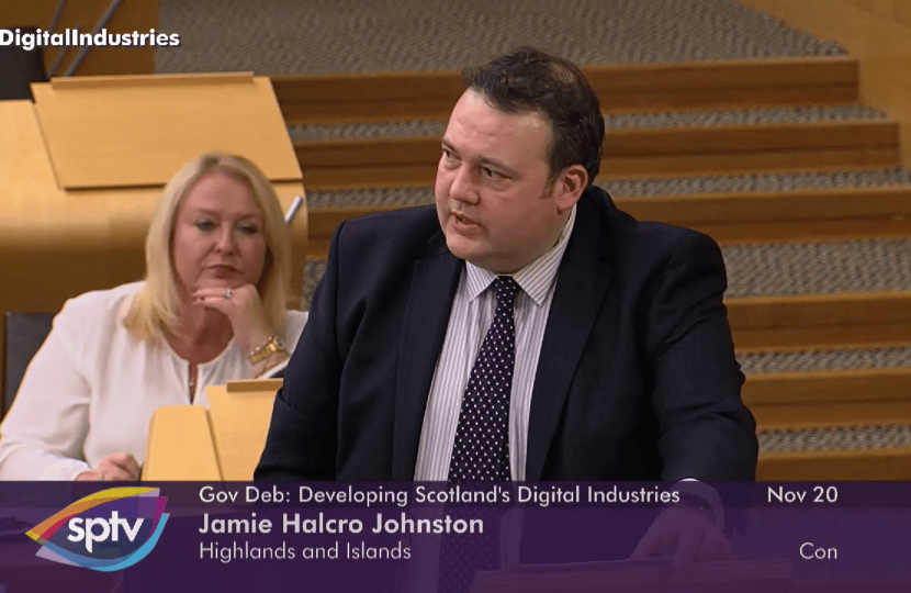 jamie speaking in the chamber of the scottish parliament
